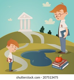 Back To School vector illustration with a cute little boy with a textbook under his arm standing on a path leading to a college building on a hilltop watched by his teacher as he walks to school
