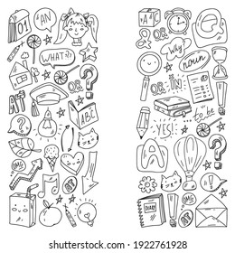 Back to school. Vector illustration with icons about education. English learning. Online internet courses.