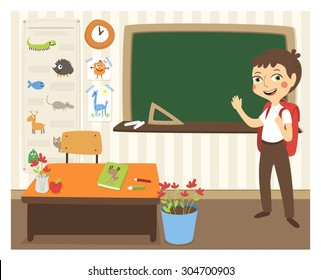 Back to school vector illustration with sanding student in classroom.