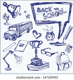 Back to School. Vector illustration. Set of freehand drawing school symbols on a sheet of exercise book.