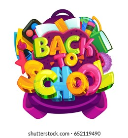 Back to school vector isolated emblem. A colored inscription on a backpack with school supplies and books. Illustration for Knowledge Day in September