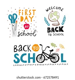 Back to school vector labels with scissors, globe and bicycle icons and handwritten words
