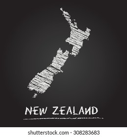 Back to school vector map of New Zealand hand drawn with chalk on a blackboard. Chalkboard scribble in childish style. White chalk texture on black background