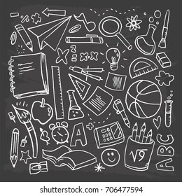 Back to school vector pattern with creative elements