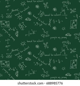 Back to school vector pattern with handwriting  on green school chalk board