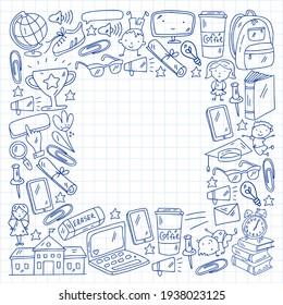 Back to school vector pattern. Online internet education.