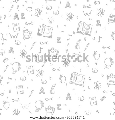 Back School Vector Seamless Pattern Background Stock Vector Royalty