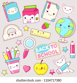 Back to school. Vector set of education icons in kawaii style. Cat with pencil, globe, book, diary, pencil, apple, ruler, package of milk, loupe, labels, shiny hearts and stars