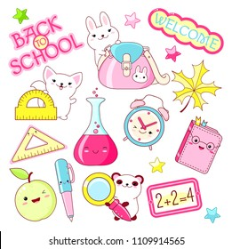 Back to school. Vector set of education icons in kawaii style. Bunny with bag, cat with ruler, alarm clock, book, diary, pen, apple, ruler, panda with loupe, labels, shiny stars, chemistry flask. EPS8