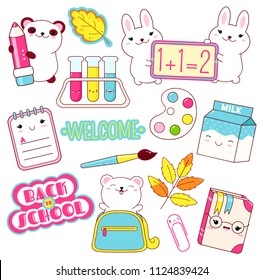 Back to school. Vector set of education icons in kawaii style. Polar bear in bag, panda with pencil, milk, book, diary, labels, chemistry flask, paint, paintbrush, clip. EPS8