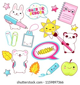 Back to school. Vector set of education icons in kawaii style. Polar bear with bag, panda with paintbrush, book, diary, label, bunny with pen, clips, green apple. EPS8