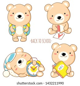 Back to school. Vector set of education icons in kawaii style. Cute bear with pencil, alarm clock, book. EPS8