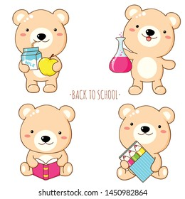 Back to school. Vector set of education icons in kawaii style. Cute bear with pencil, apple and milk, chemical flask, book. EPS8