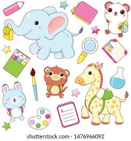 Back to school. Vector set of education icons in kawaii style. Elephant, giraffe, monkey, panda, rabbit with backpacks. EPS8