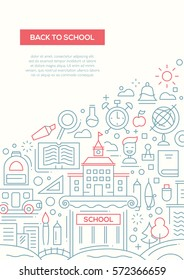 Back to School - vector simple line design brochure poster, flyer presentation template, A4 size layout