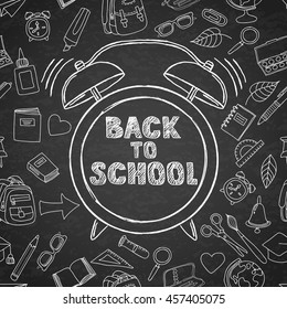 Back to school vector sketch lettering and hand drawn watercolor alarm clock. Black board background with outline doodle school supplies icons. Design for poster, banner, school or education theme.