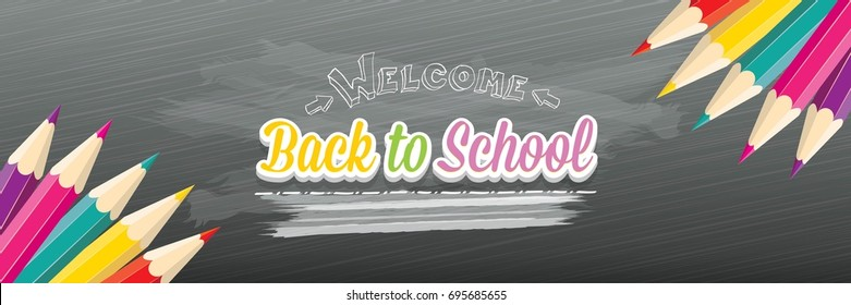 Back to school vector text logo with pencils on green chalkboard background. back to school vector concept horizontal web banner