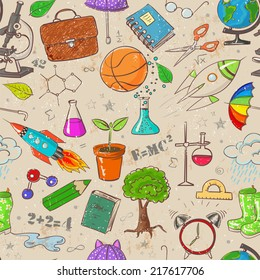 Back to school - vintage scratched seamless background. Can be used for wallpaper, pattern fills, textile, web page background, surface textures. Vector illustration.
