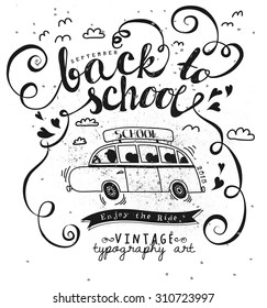 royalty free stock illustration of illustration lettering travel Dodge Grand Caravan Tent back to school vintage typography poster with cartoon bus banner and bold handwritten
