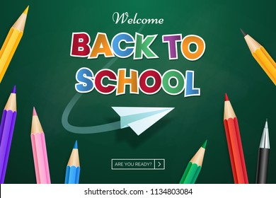 Back to school web banner design. Vector green chalkboard background with scattered color pencils. Colored paper text with flying paper airplane. Use for sale of school goods, event invitation.