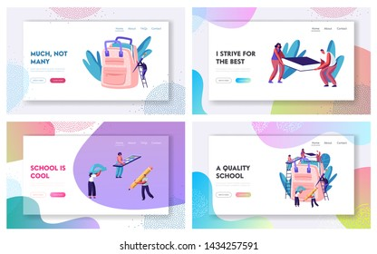 Back to School Website Landing Page Set, Male and Female Characters on Ladders Put Accessories into Backpack. Pencil, Paints, Book, Brush, Education. Web Page. Cartoon Flat Vector Illustration, Banner