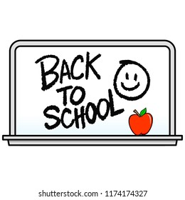 Back to School Whiteboard with Smiley - A vector cartoon illustration of a Back to School Whiteboard with Smiley concept.
