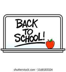 Back to School Whiteboard - A vector cartoon illustration of a school Whiteboard with an Apple.