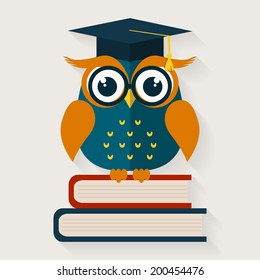 Back to school. Wise owl with books and graduate cap. Educational concept. Vector illustration. Flat design.