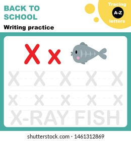 Back to school. Writing practice worksheet. Tasing alphabet letters. Letter X is for x-ray fish. Flash card for preschoolers.