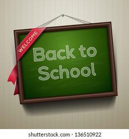 Back to school, written on blackboard with chalk, vector illustration.