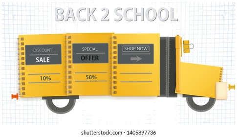 Back to school. Yellow school bus made of office supplies. Vector illustration. Internet banner.