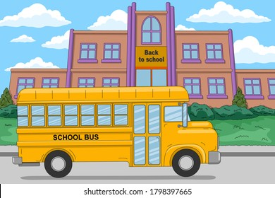 Back to school. Yellow school bus near the school building. Vector illustration in cartoon style, horizontal banner