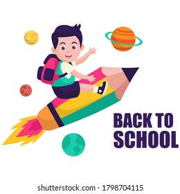 Back to school.Cute School Children. Creative design concept with school bag and education elements, books, pen, pencil, ruler, art and craft, galaxy. Vector illustration in cartoon style.