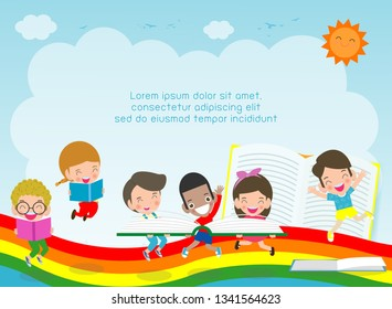 back to school,education concept, kid reading books,child school,  Template for advertising brochure, your text,Kids and frame,child and frame,Vector Illustration, cartoon happy children.Illustration