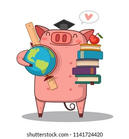 back to school/happy pig