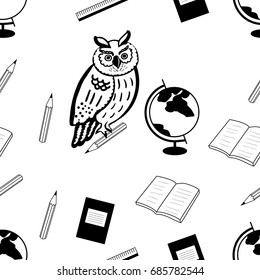 back to school.Seamless pattern with wise owl and school items