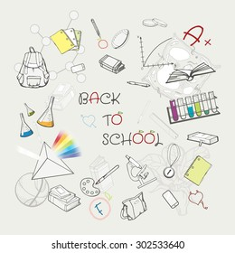 Back to scool bacground, sketched school supplies