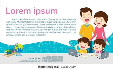 Back to shcool Education and learning,children and family Education concept with E-learning background template.for web banner, backdrop, ad,promotion poster.