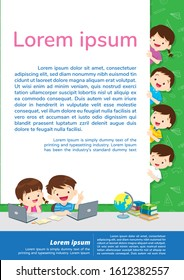Back to shcool Education and learning,children thinking idea.Education concept with E-learning background template.for web banner, backdrop, ad,promotion poster.