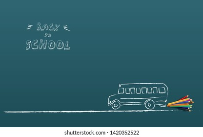 Back to shool poster vector template with schoolbus and color pencils, hand drawing on chalkboard. Start of school year, shopping for supplies, sale and offers promotion. Eps10 illustration.