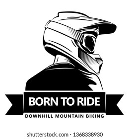 Back shot of man with full face motocross helmet. Extreme sport logo template. Place for text. Downhill Mountain Biking.
