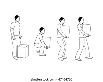 Back and shoulder right position when lifting a box