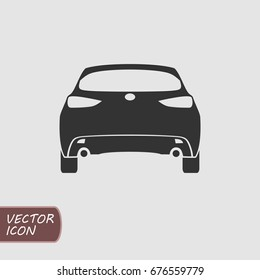 Back side of car. Vector flat icon