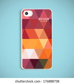 The back of smart phone. Example of design cover.Vector illustration with realistic lens.