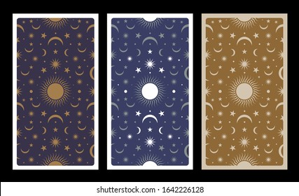 Back of Tarot card decorated with stars, sun and moon. Esoteric background