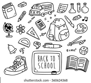 Back ti school themed doodle isolated on white background