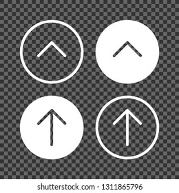 Back to top arrow button set. Jump to top, scroll to top, jump up, scroll up white flat thin arrows icons in circles for web pages design.