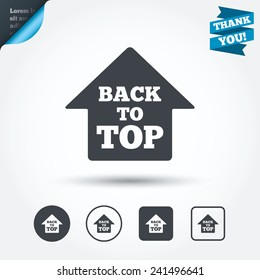 Back to top arrow sign icon. Scroll up page symbol. Circle and square buttons. Flat design set. Thank you ribbon. Vector