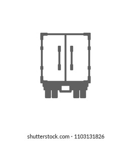 Back of trailer truck icon vector in trendy flat style isolated on white background