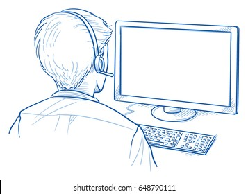 Back view of a business man with headset in front of a computer screen, for mock up purposes. Hand drawn line art cartoon vector illustration.